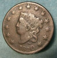 1820 CORONET HEAD LARGE CENT VF  DETAILS   UNITED STATES COI