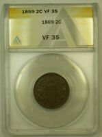 1869 TWO CENT PIECE 2C ANACS VF-35 RS