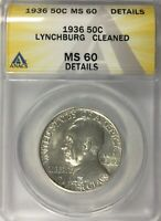 1936 LYNCHBURG COMMEMORATIVE MS60 ANACS UNCIRCULATED CLEANED