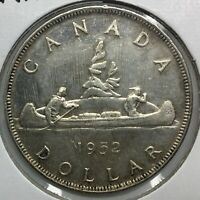 1952 SHORT WATER LINES SILVER DOLLAR CANADA LUSTROUS  NICE COIN  VARIETY