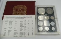 1974 B REPUBLIC OF INDIA PROOF SET  10 COINS  BOMBAY MINT W/