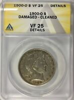 1900  O NEW ORLEANS BARBER HALF ANACS GRADED VF25 CLEANED DAMAGED