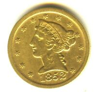 1852 D LIBERTY HALF EAGLE $5 GOLD XF IN GRADE NICE EARLY GOL