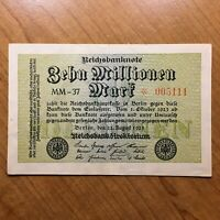 1923 GERMANY 10 MILLION MARK BANKNOTE PICK 106 AU   REPLACEMENT