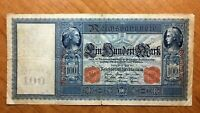 1910 GERMANY 100 MARK BANKNOTE RED SERIAL  PICK 42