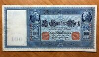 1910 GERMANY 100 MARK BANKNOTE RED SERIAL  PICK 42 EXTRA NICE