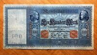 1910 GERMANY 100 MARK BANKNOTE RED SERIAL  PICK 42 BLUE PAPER TINT