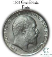 1902 GREAT BRITAIN FLORIN  TWO SHILLINGS  SILVER BRITISH COIN CELINACC