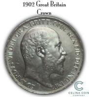 1902 GREAT BRITAIN CROWN BRITISH SILVER COIN CELINACC