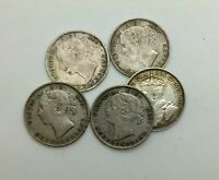 NEWFOUNDLAND LOT OF 5 SILVER 20  CENTS QUEEN VICTORIA 1885 88 94 96 & 1912 NICE