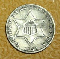1855 SILVER THREE CENT COIN/TRIME. NICE DETAIL  NO RESERVE