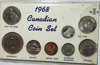 CANADA 8 PIECE 1968 UNCIRCULATED SET W/ 2 SILVER COINS .1312