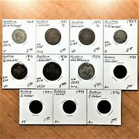 LOT OF ELEVEN  11  AUSTRIA COINS 1816 TO 1924 LARGE VARIETY AND NICE