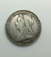 1900 LXIV VICTORIA OLD HEAD SILVER CROWN DECENT GRADE EXAMPLE