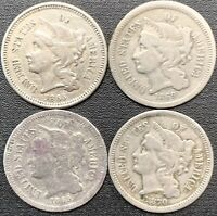LOT OF 4 THREE CENT NICKEL PIECE COINS 1865, 1869, 1869, & 1870 CIRCULATED