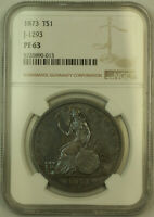 1873 PROOF PATTERN TRADE SILVER DOLLAR $1 NGC PF 63 JUDD 1293  TONED   KH