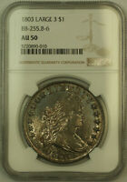 1803 LARGE 3 DRAPED BUST SILVER DOLLAR NGC AU-50 TONED, BETTER BB-225 B-6 KH