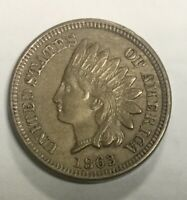 1863 COPPER  NICKEL   INDIAN HEAD CENT SHARP BROWN  NICE COIN FOUR FULL DIAMONDS