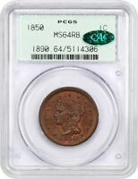 1850 1C PCGS/CAC MINT STATE 64 RB OGH - LARGE CENT - OLD GREEN LABEL HOLDER
