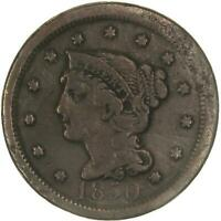 1850 BRAIDED HAIR LARGE CENT GOOD DETAILS SMASHED SEE PHOTOS C495