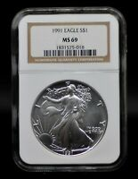 1991 NGC MINT STATE 69 SILVER EAGLE [020DUD]