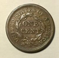 1857 LARGE DATE  LARGE CENT  PLEASING ORIGINAL COIN NICE COLOUR TYPE COIN