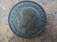 1928 SIX PENCE BRITISH SILVER COIN