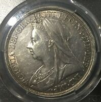 1896 LX QUEEN VICTORIA CROWN PCGS GRADED AU 50 LUSTROUS NICE COIN