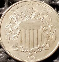 1868 SHIELD NICKEL REV OF 67, MISSING LEAF,  , HARD TO FIND THIS