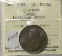 CANADA 1920  ICCS LUSTROUS BROWN  LARGE CENT  MS62 LUSTROUS NICE COLOURFUL COIN