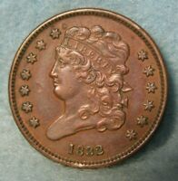 1832 CLASSIC HEAD HALF CENT AU   UNITED STATES COIN