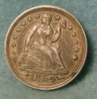 1854 SEATED LIBERTY SILVER HALF DIME CHOICE XF NICE     UNITED STATES COIN