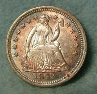 1842 SEATED LIBERTY SILVER HALF DIME CHOICE UNCIRCULATED NICE ALBUM TONING