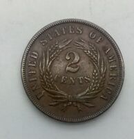 1865 FANCY 5 TWO CENTS  NICE GRADE COIN STRONG DEVICES ORIGINAL SHARP