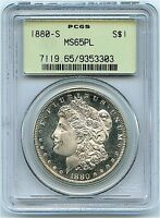 1880-S MORGAN SILVER DOLLAR, PCGS MINT STATE 65 PROOF LIKE, FLASHY STRIKE AND CONTRAST