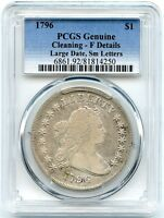 1796 DRAPED BUST LIBERTY SILVER DOLLAR, PCGS FINE DETAILS, LG DATE SM LETTERS