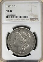 1892 S MORGAN SILVER DOLLAR NGC VF30  SOLID COIN - BETTER DATE