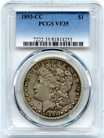 1893-CC MORGAN SILVER DOLLAR, PCGS VF-35, ATTRACTIVE AND EVEN TONING