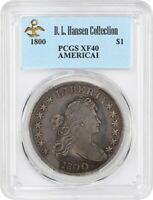 1800 $1 PCGS EXTRA FINE 40 AMERICAI EX: D.L. HANSEN - SOLID EXTRA FINE  - BUST SILVER DOLLAR