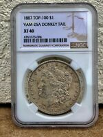 1887 TOP 100 VAM-25A DONKEY TAIL MORGAN DOLLAR NGC EXTRA FINE -40