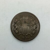 1870 TWO CENTS 2 CENTS  DATE SOLID MID GRADE COLLECTOR COIN NICE BROWN 3