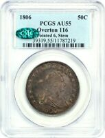 1806 50C PCGS/CAC AU55 POINTED 6, STEMS, OVERTON 116 GREAT TYPE COIN