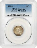 1856-S 10C PCGS AU DETAILS CLEANED - SEATED LIBERTY DIME - AFFORDABLE S-MINT