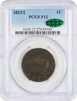 1823/2 1C PCGS/CAC F12 - CORONET HEAD LARGE CENTS 1816-1839 -  DATE