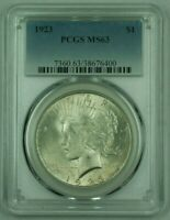 1923 PEACE SILVER DOLLAR PCGS MINT STATE 63 25 A