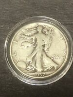 1937P WALKING LIBERTY SILVER HALF DOLLAR IN CAPSULE