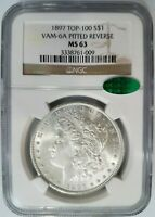 1897 SILVER MORGAN DOLLAR NGC MINT STATE 63 CAC VAM 6A PITTED REVERSE MINT ERROR