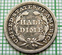 UNITED STATES 1858 HALF DIME   5 CENTS SEATED LIBERTY SILVER