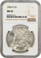 1903-O $1 NGC MINT STATE 65 - LOW MINTAGE DATE - MORGAN SILVER DOLLAR - LOW MINTAGE DATE