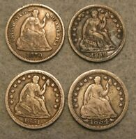 4 PIECE SEATED LIBERTY SILVER HALF DIME UNITED STATES TYPE C
